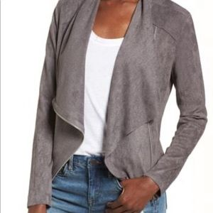 NWT. Blank NYC faux suede front drape jacket
